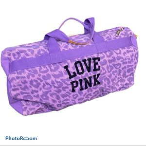 Pink Victoria's Secret purple duffel bag